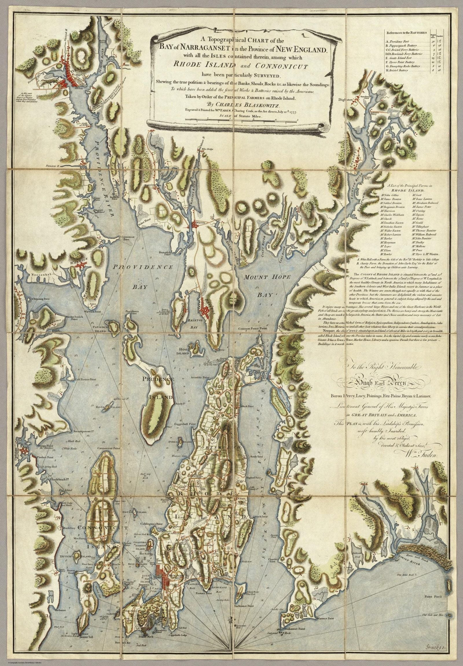 A Topograhical Chart of the Bay of Narraganset in the Province of New England, 1777, by Charles Blaskowitz