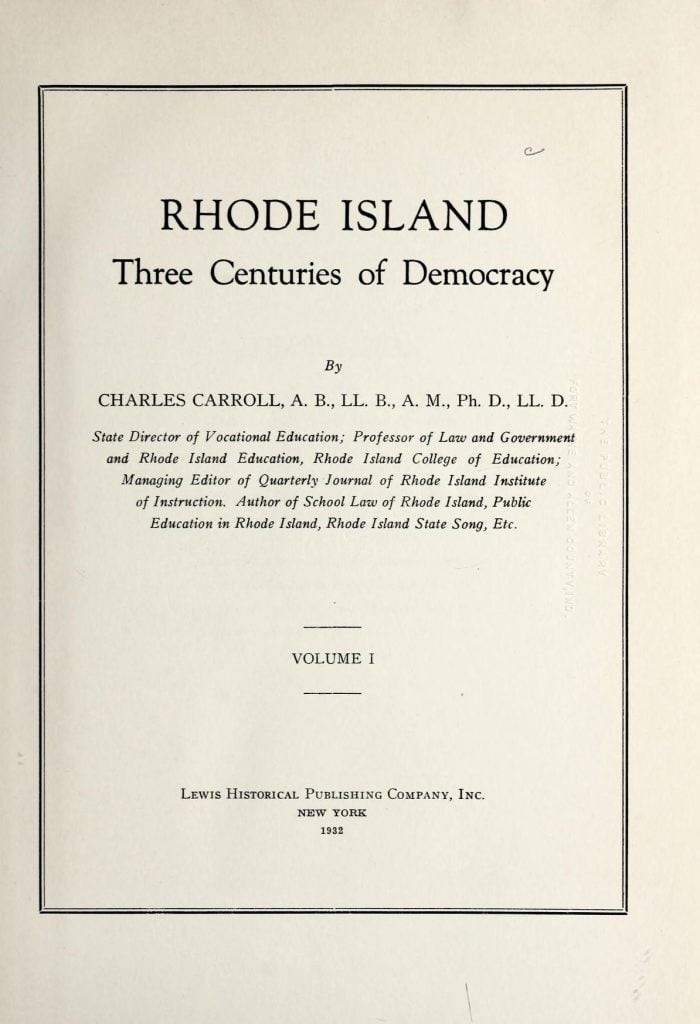 Rhode Island - three centuries of democracy vol 1