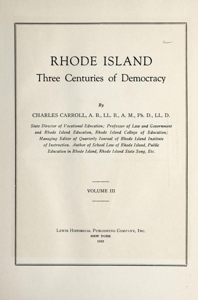 Rhode Island - three centuries of democracy vol 3