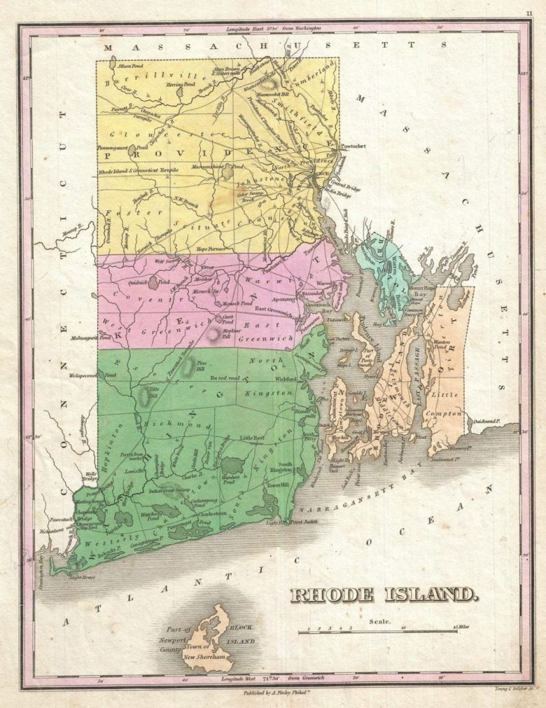 1827 Finley Map of Rhode Island